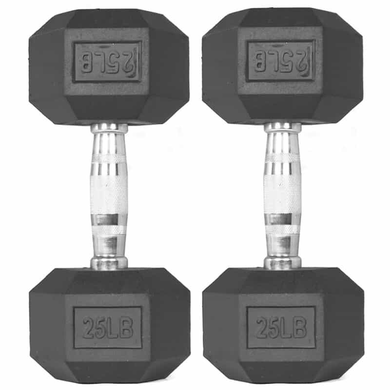 TItan Fitness Rubber Hex Dumbbells